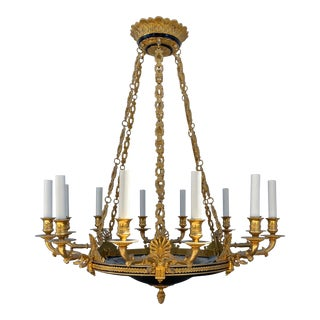 Empire Style 12 Light Bronze Figural Chandelier For Sale