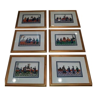 Antique Chinese Asian Painting Set of 6 For Sale