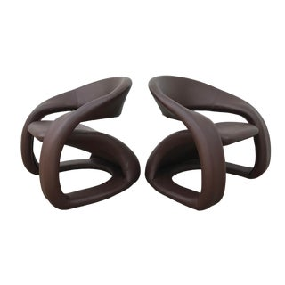 1990s Vintage Jaymar Memphis Sculptural Cantilever Lounge Chairs - a Pair For Sale