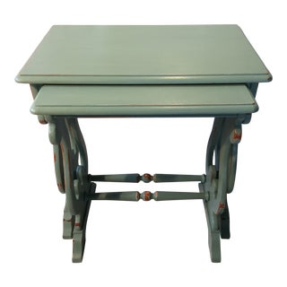 Pair of Painted French Blue Cherry Wood Nesting Tables by Hammary For Sale