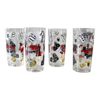 4 Vintage Casino Highball Glasses Gambling Poker Roulette Mid Century For Sale
