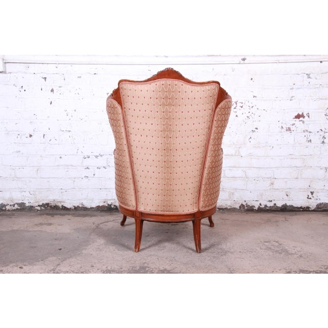 White Antique French Carved Wing Back Lounge Chair For Sale - Image 8 of 13