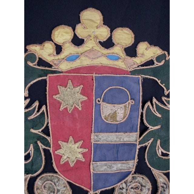 Late 19th Century 19th Century Italian Marquee Coat of Arms Armorial Embroidery For Sale - Image 5 of 8