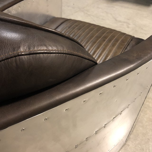 Metal Pair of Restoration Hardware Aviator Chairs For Sale - Image 7 of 13