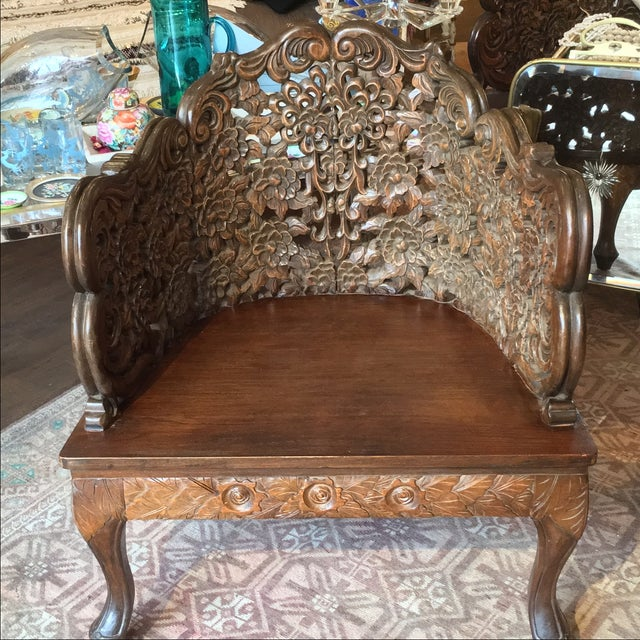 Ornately Carved Wooden Asian Accent Chair - Image 9 of 10