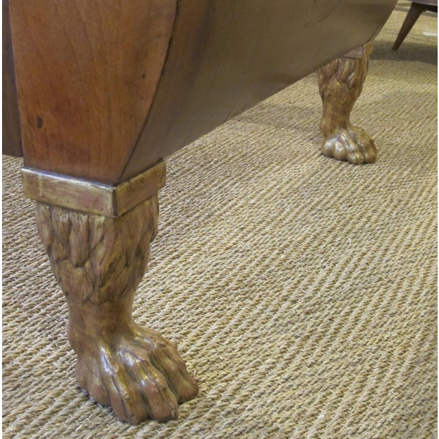 A Handsome and Good Quality Pair of French Empire Walnut Sleigh Beds With Gilt-Wood Hair Paw Feet For Sale - Image 4 of 4