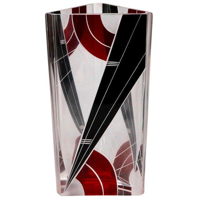 Art Deco Karl Palda Black and Red Glass Triangular Vase For Sale