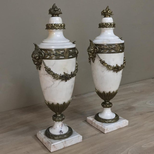 Pair 19th Century French Louis XVI Marble Cassolettes ~ Mantel Urns with Bronze Mounts were designed to be purely...