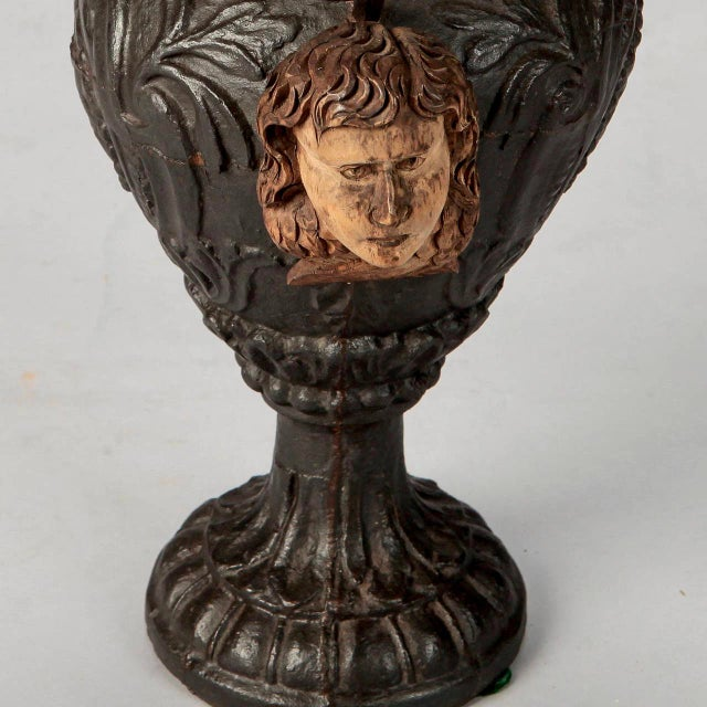 19th Century French Iron Urn with Flowers and Putti Faces - Image 6 of 7