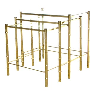 Midcentury Faux Bamboo Brass & Glass Nesting Tables, Set of 3 For Sale