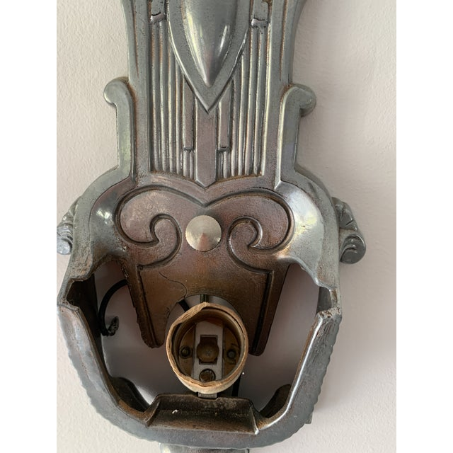 Silver Antique Art Deco Sconces With Glass Shades - a Pair For Sale - Image 8 of 13