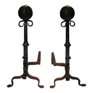 Early 20th Century Cast and Wrought Iron Andirons With Scroll and Ball Finials - a Pair For Sale