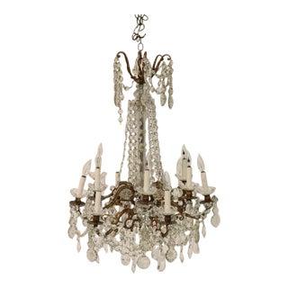 Louis XVI Style Gilt-Metal & Cut Glass Chandelier For Sale