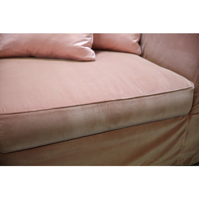 Christian Liaigre Modern Sofa in Pink Velvet with 4 Pillows For Sale - Image 12 of 13