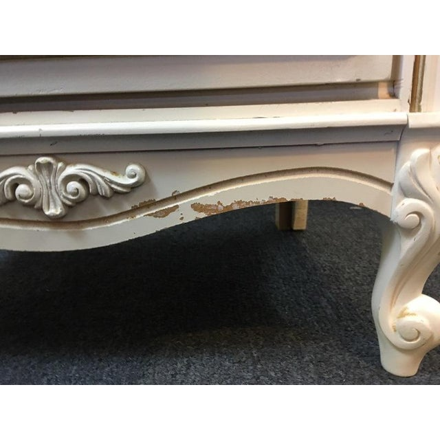 Vintage Shabby Chic White & Gold Hand Painted Wood Desk For Sale - Image 5 of 6