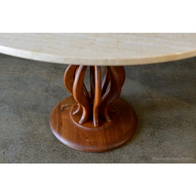 Mid-Century Modern Brown Saltman Travertine and Sculpted Walnut Dining or Bistro Table, Circa 1970 For Sale - Image 3 of 9