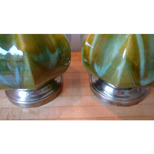 Metal Table Lamps (Pair) Mid-Century Tapered Blown Glass in Murano Style Swirl of Colors For Sale - Image 7 of 11