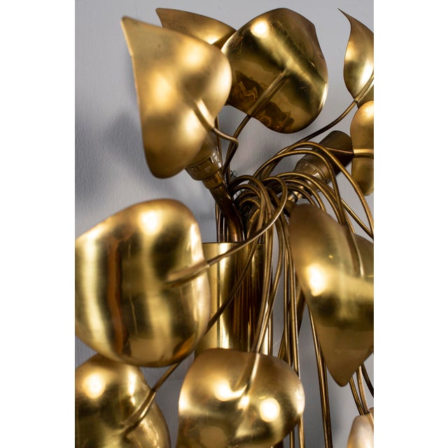 Cascading Leaves Gilt Metal Light Fixture Attributed to Maison Jansen For Sale In Detroit - Image 6 of 13