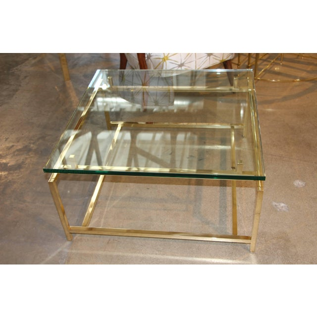 Contemporary Vintage Brass Cocktail Table For Sale - Image 3 of 3