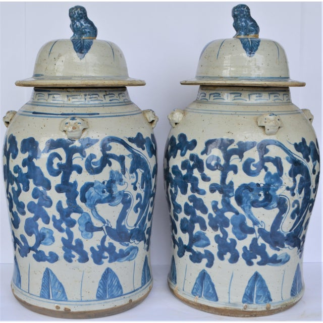 Large Chinoiserie Blue and White Scroll and Leaf Ginger Jars, a Pair For Sale In Houston - Image 6 of 6