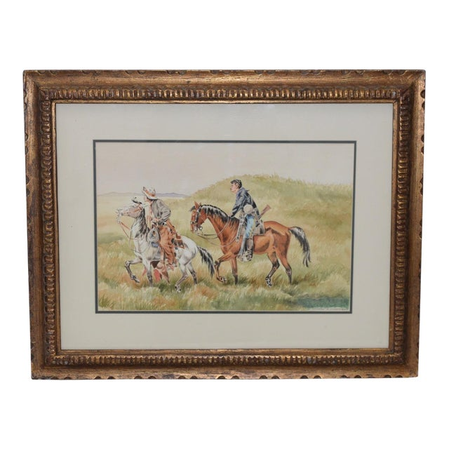 """J. Thomas Soltesz (American, B.1955) """"The Couriers"""" Original Watercolor For Sale"""