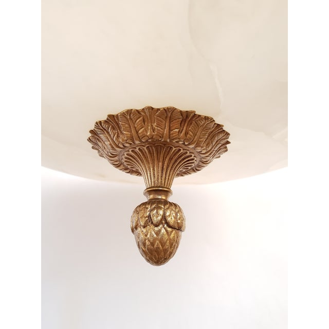 1950s Fine Neoclassical Empire Style Alabaster & Dore Bronze Chandelier For Sale - Image 5 of 12