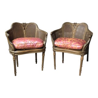 French Louis XVI Carved Walnut Cane Chairs - A Pair