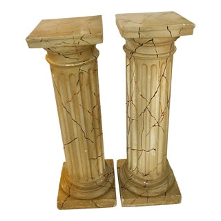 Vintage Pair of Faux Marble Classical Columns For Sale