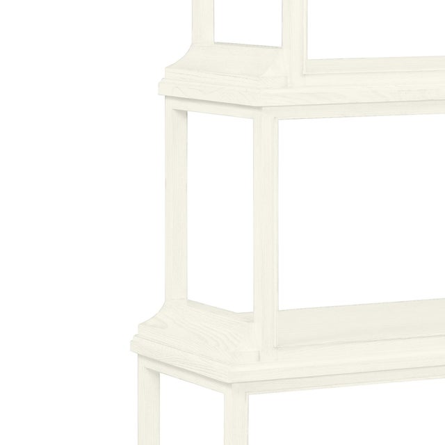 This is a made to order item with a 6-8 week leadtime. The color is Benjamin Moore Cloud White.A stately etagere of 5...