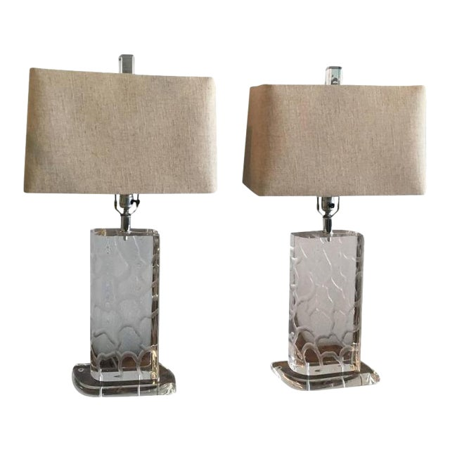 Van Teal Lucite Table Lamps - a Pair - Image 1 of 12