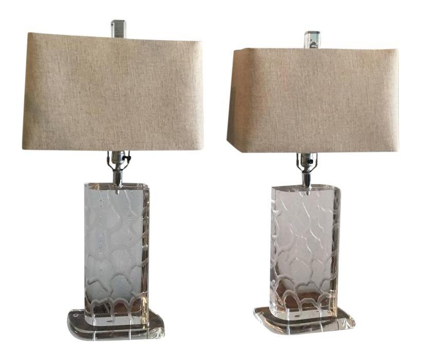 Vintage Van Teal Lucite Table Lamps   A Pair