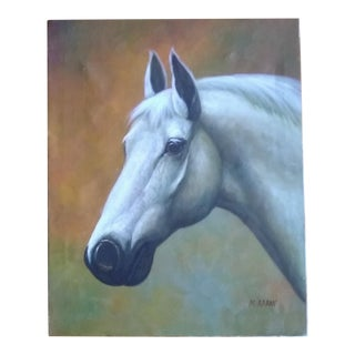 1990s Portrait of a Horse Signed Oil Painting For Sale