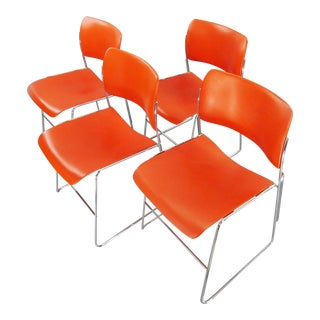 Gf Business Furniture 40/4 Orange Stacking Chair Set Designed by David Rowland - Set of 4 For Sale