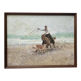 "John Jones (American, 20th C.) ""Ropin' a Runaway"" Original Oil on Canvas C.1971 For Sale"
