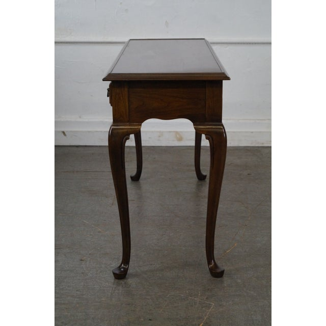 Drexel Heritage Queen Anne Style Cherry 2 Drawer Console Table - Image 3 of 10