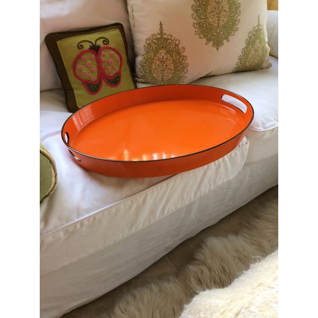 Orange Lacquer Oval Hermès Inspired Serving Tray - Image 7 of 12