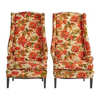 Pair of Fabulous Wingback Armchairs W/ Original Upholstery Circa 1950s