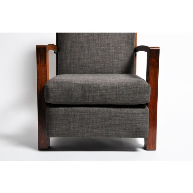 Fabric Hungarian Art Deco Solid Walnut Chair For Sale - Image 7 of 12