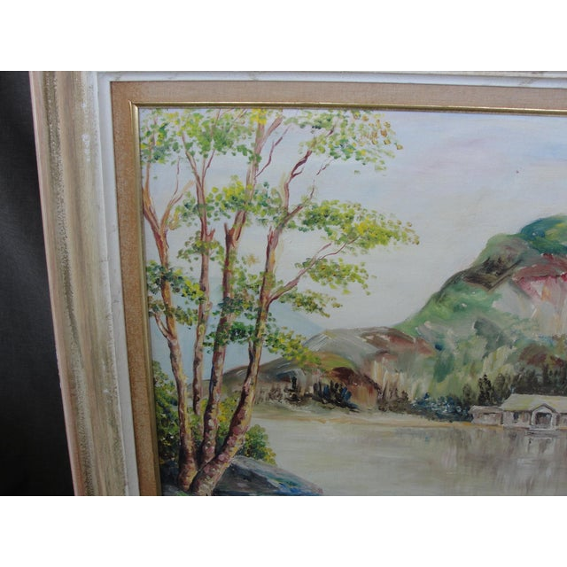 Vintage Cabin on Lake Impressionist Oil Painting on Board For Sale - Image 5 of 9