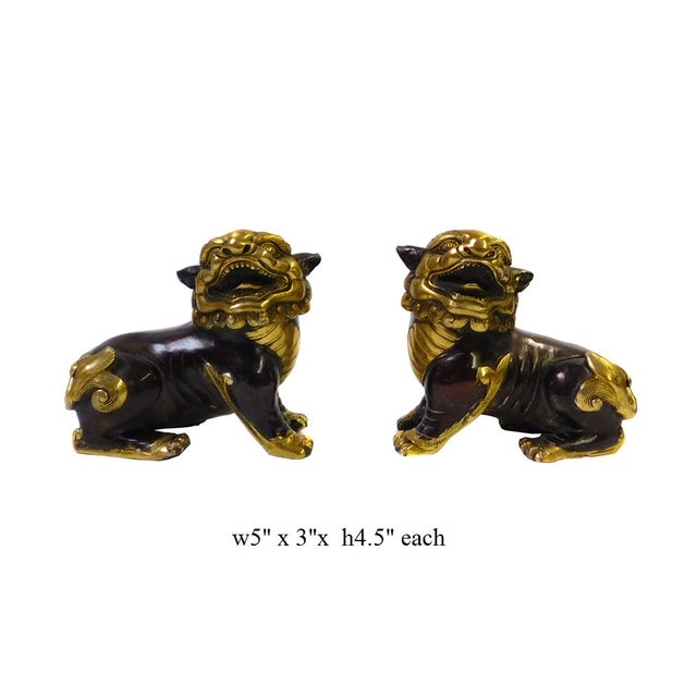 Chinese Bronze Golden Fengshui Foo Dogs - Pair - Image 6 of 6