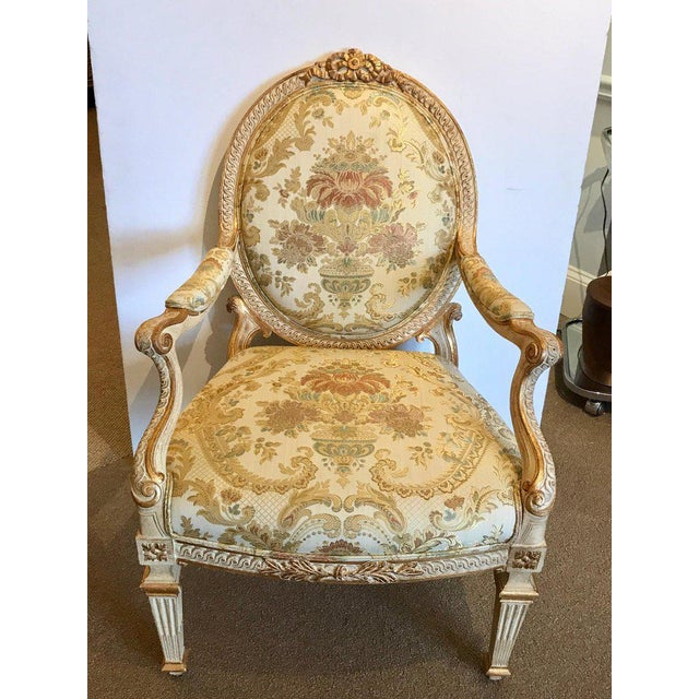 White Pair of Louis XVI Style Carved Giltwood Bergère Chairs With Scalamandre Fabric For Sale - Image 8 of 13