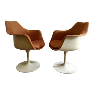 1950s Danish Modern Eero Saarinen for Knoll Tulip Arm Chairs - a Pair