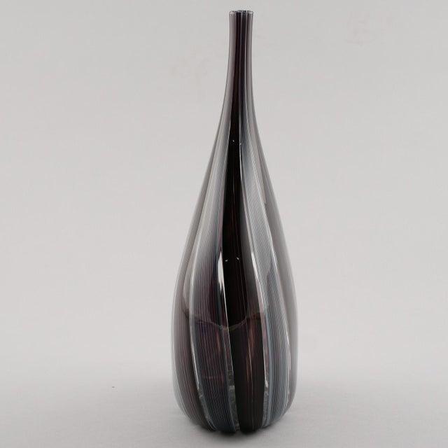 Adriano dalla Valentina Murano Glass Vase With Slender Neck For Sale - Image 4 of 9