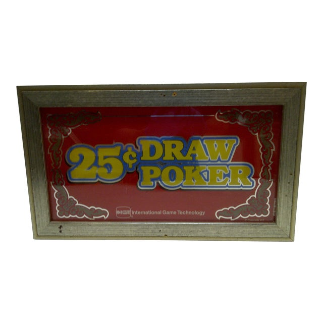 C. 1970 Glass Display Top 25 Cent Draw Poker Machine Sign For Sale