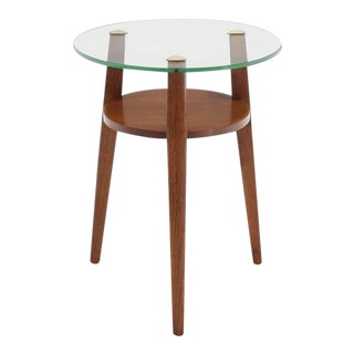 Vintage Mid Century Tripod Base Pedestal Table For Sale