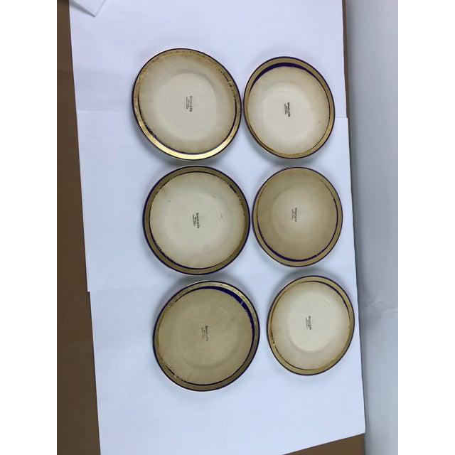 Tiffany Gold & Cobalt Blue Rimmed Dinner Plates - Set of 6 For Sale - Image 11 of 13