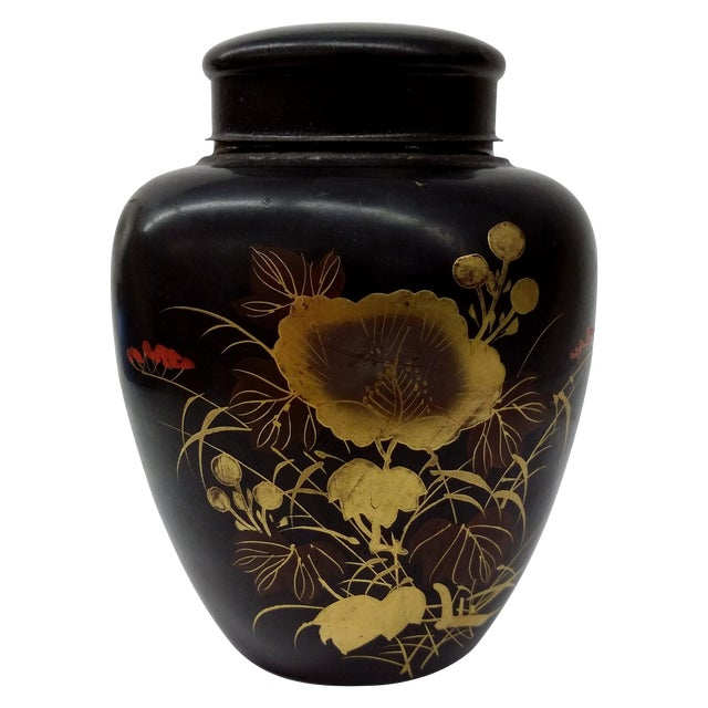 Vintage Japanese Hand Painted Tin Tea Caddy - Image 1 of 9
