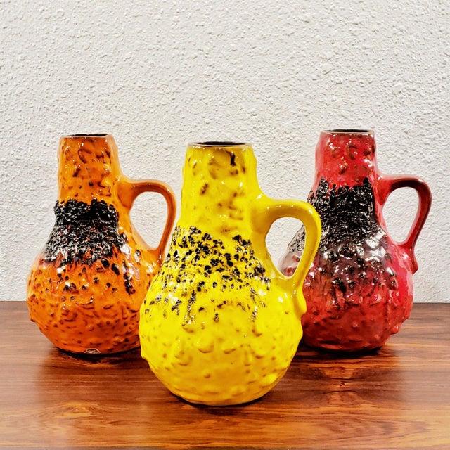 "1960s Kreutz Keramik Orange/Black Fat-Lava Jug Vase 201 (9.3"") For Sale - Image 12 of 13"