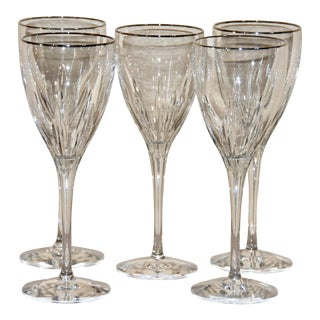 Lenox Firelight Platinum Rim Signature Crystal Goblets - Set of 5 For Sale
