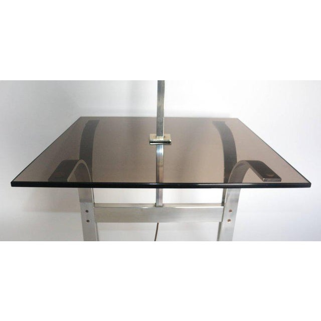 Metal Mid-Century Modern Side Table With Built in Lamp For Sale - Image 7 of 8